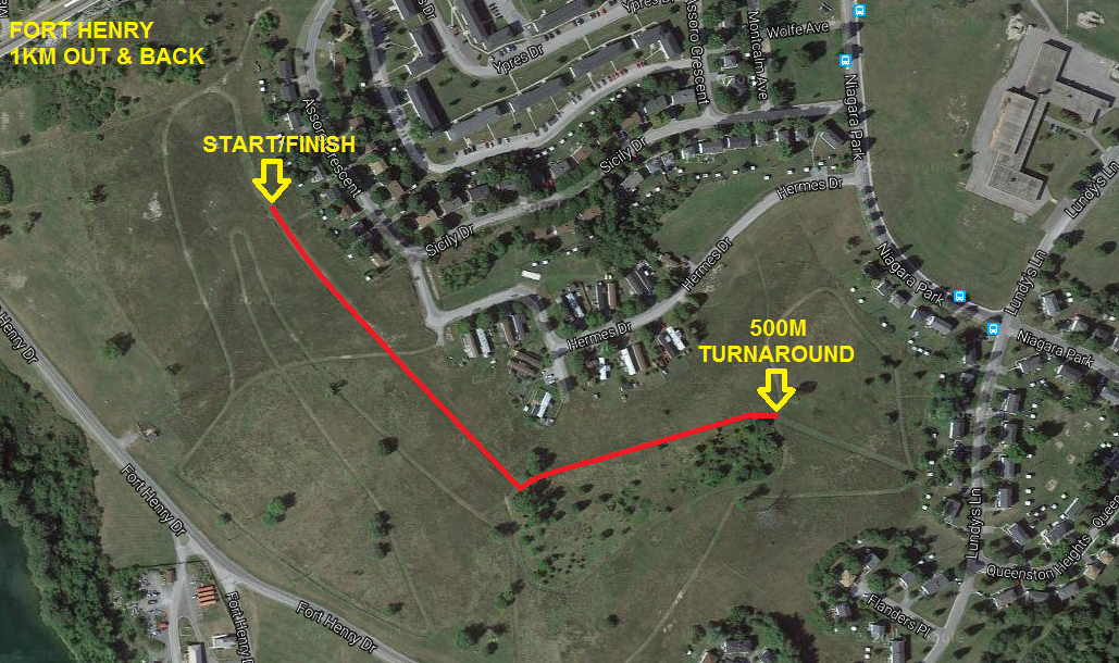Fort Henry 1km course