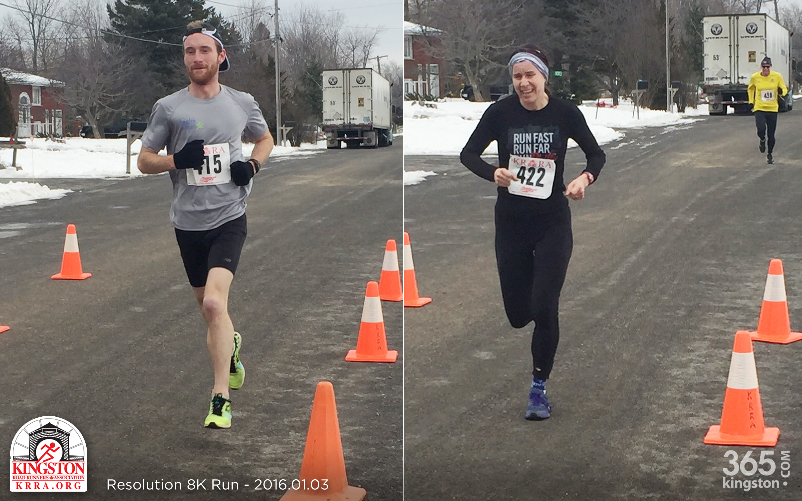 Top finishers Robert Asselstine and Suzanne Kerr. Photo credit: Bryan Lambert, Running by Design.