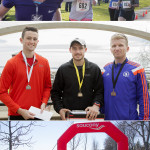 Top: finishers of the KGH Trauma 10 Run. Middle: Half marathon top three male finishers. Bottom: Kids 2K Race start.