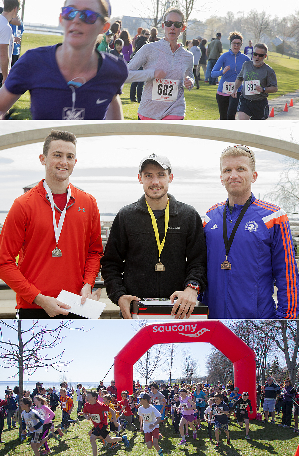 Top: finishers of the KGH Trauma 10 Run. Middle: Half marathon top three male finishers. Bottom: Kids 2K Race start.